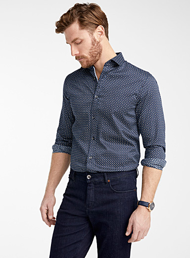 Matinique Marine Blue Micro repeat pattern shirt  Modern fit for men