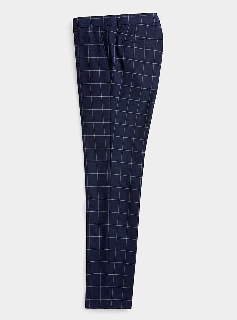 Matinique Marine Blue Nautical check pant  Slim fit for men