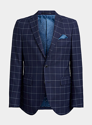 Matinique Marine Blue Nautical check jacket  Semi-slim fit for men
