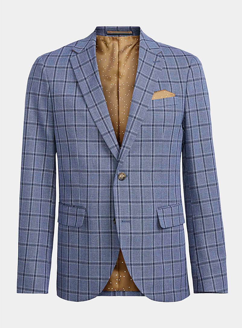 Matinique Blue Check cotton and linen jacket  Semi-slim fit for men