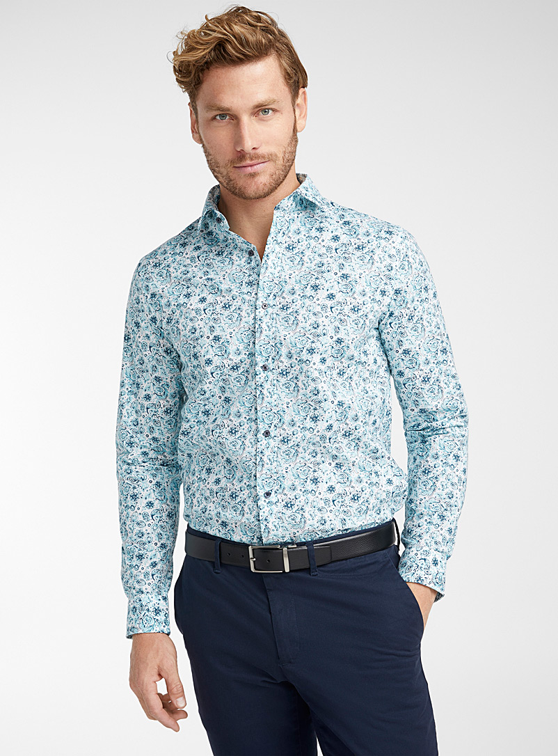 Matinique White Floral paisley shirt  Modern fit for men