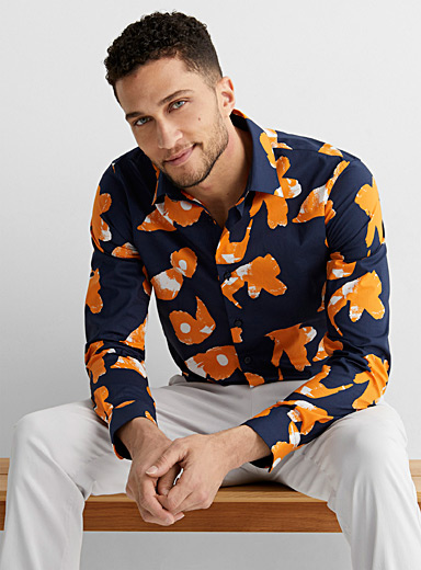 Abstract floral shirt Slim fit