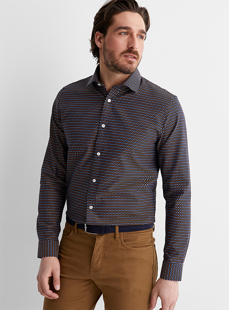 Matinique Marine Blue Two-tone jacquard circle shirt for men