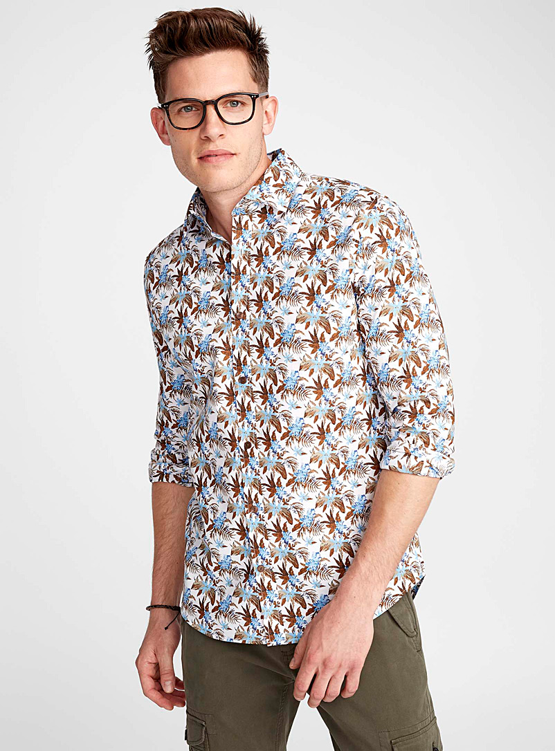 Polynesian forest shirt  Semi-tailored fit - Patterns - White