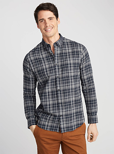 Navy tartan flannel shirt  Semi-tailored fit
