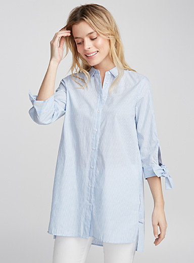 Tie-sleeve shirt tunic