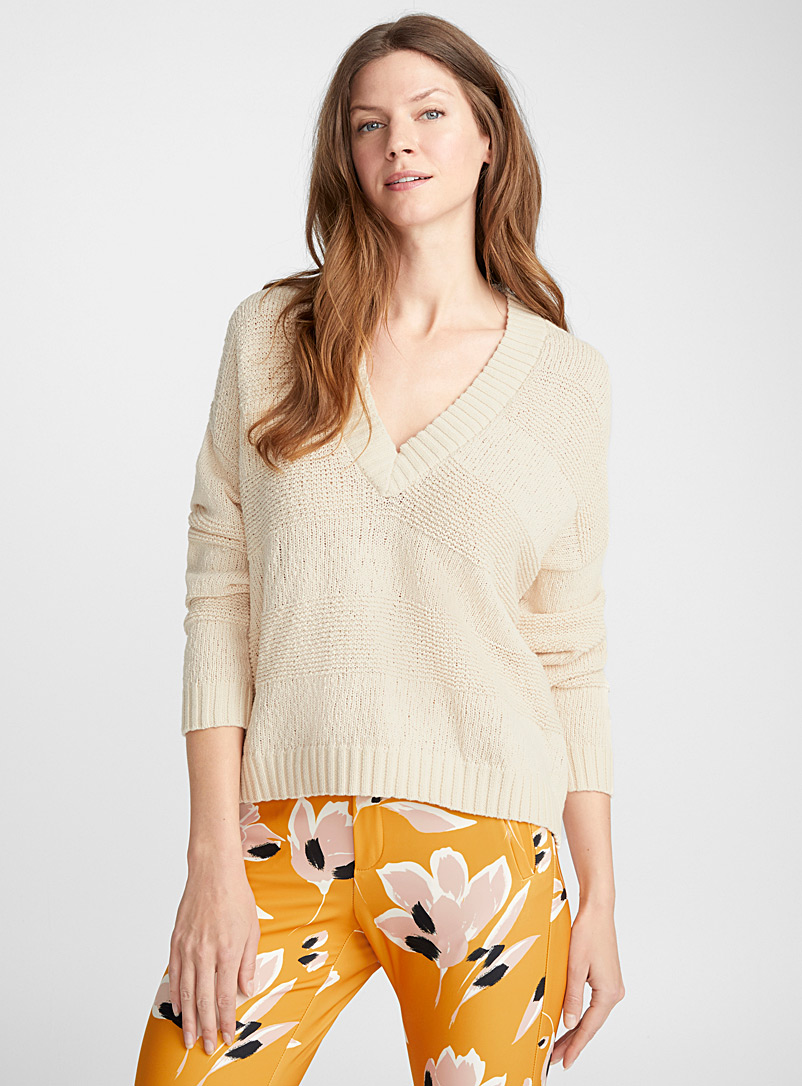 Kaziah textured stripe sweater - Sweaters - Cream Beige