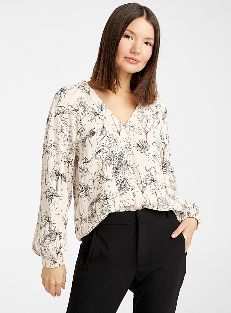 InWear Patterned Ecru Leaf sketch blouse for women