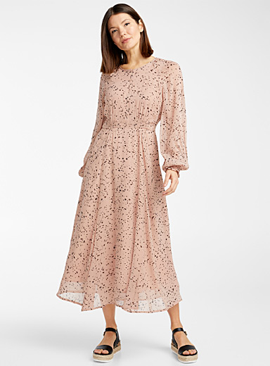 InWear Patterned Blue Spotted pink airy dress for women