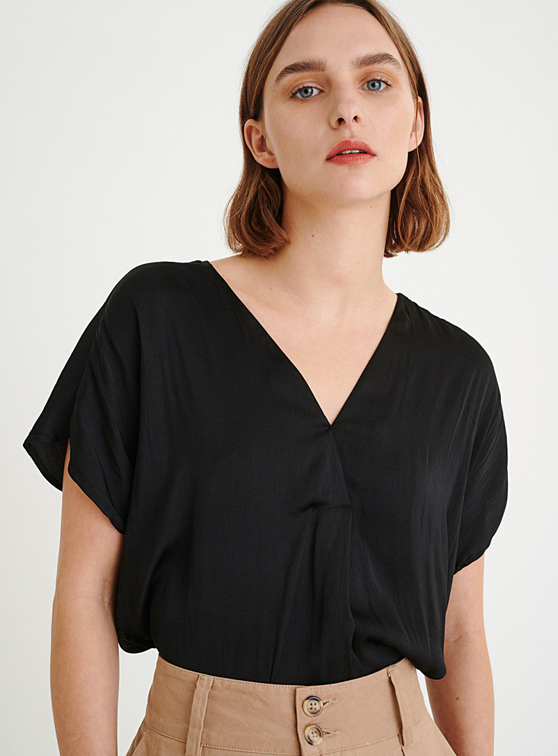 InWear Black Hammered satin loose blouse for women