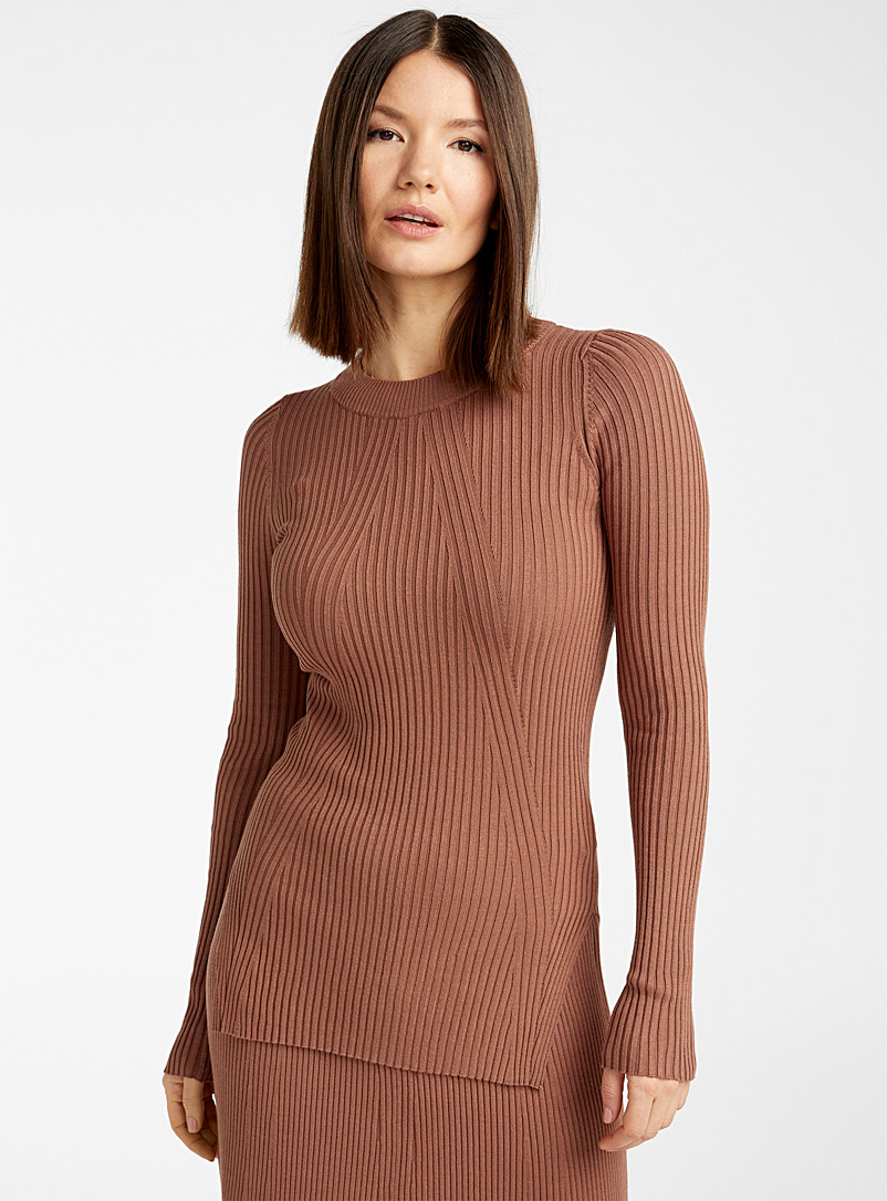 InWear Dark Orange Praline brown ribbed sweater for women