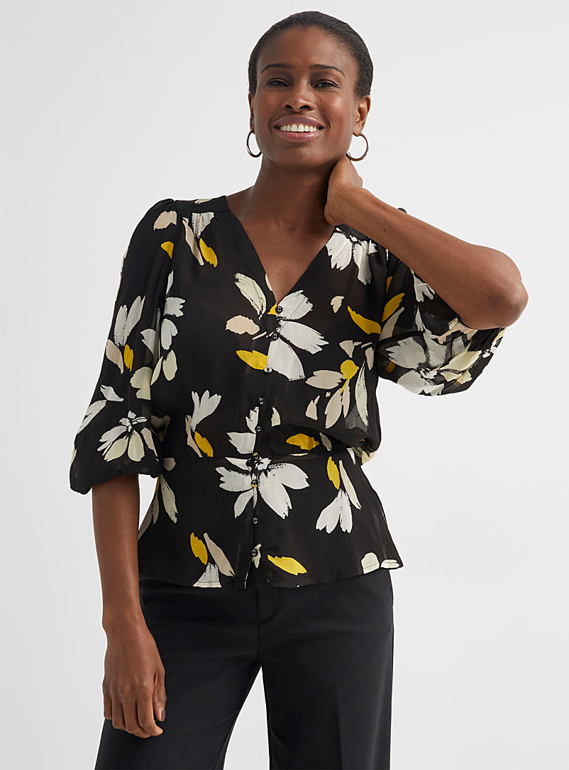 InWear Patterned Black Florizza floral breeze blouse for women