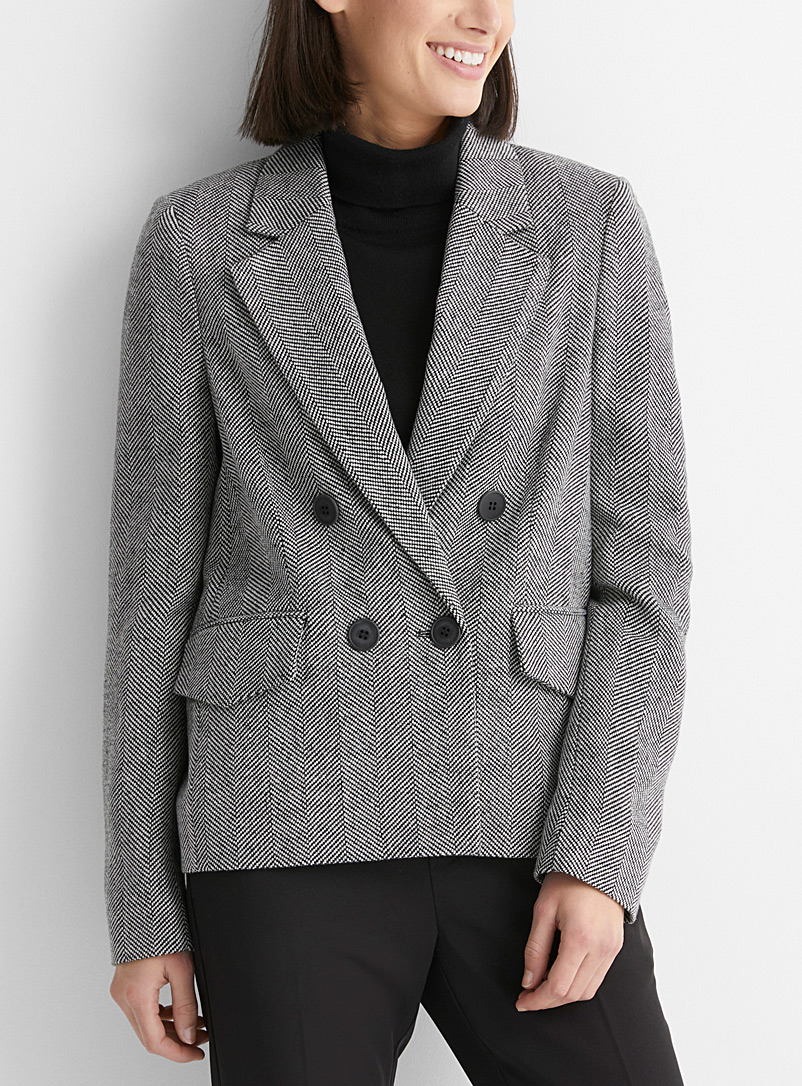 InWear Patterned Black Vianl herringbone wool blazer for women