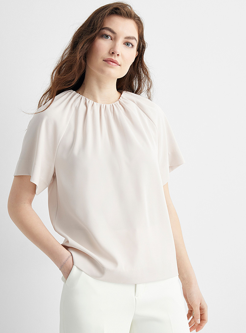 InWear Ivory White Adial cowl neck blouse for women