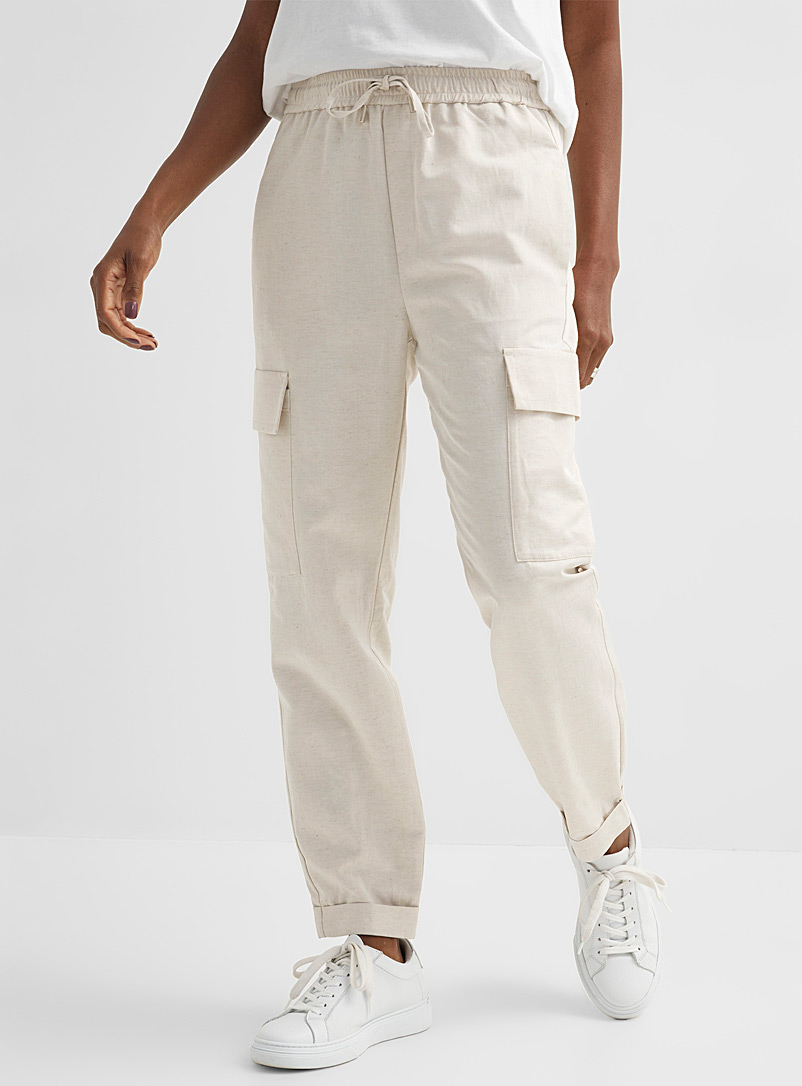 InWear Ivory White Aila lightweight cargo pant for women