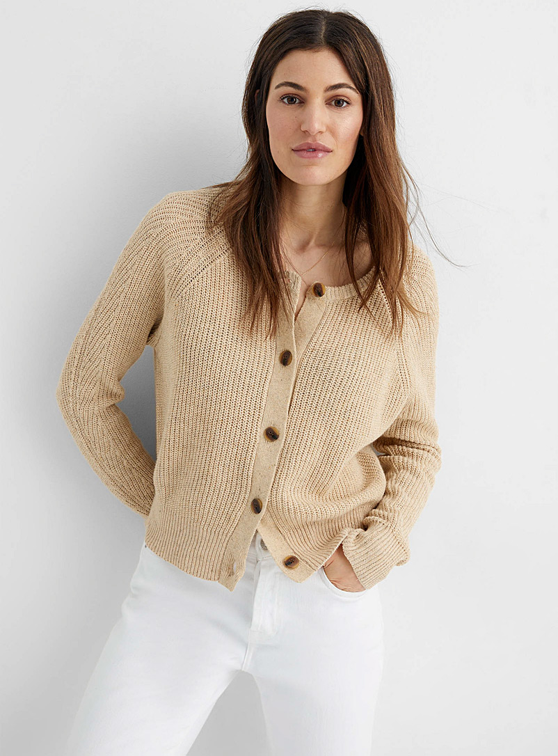 InWear Sand Disa sand-coloured ribbed cardigan for women