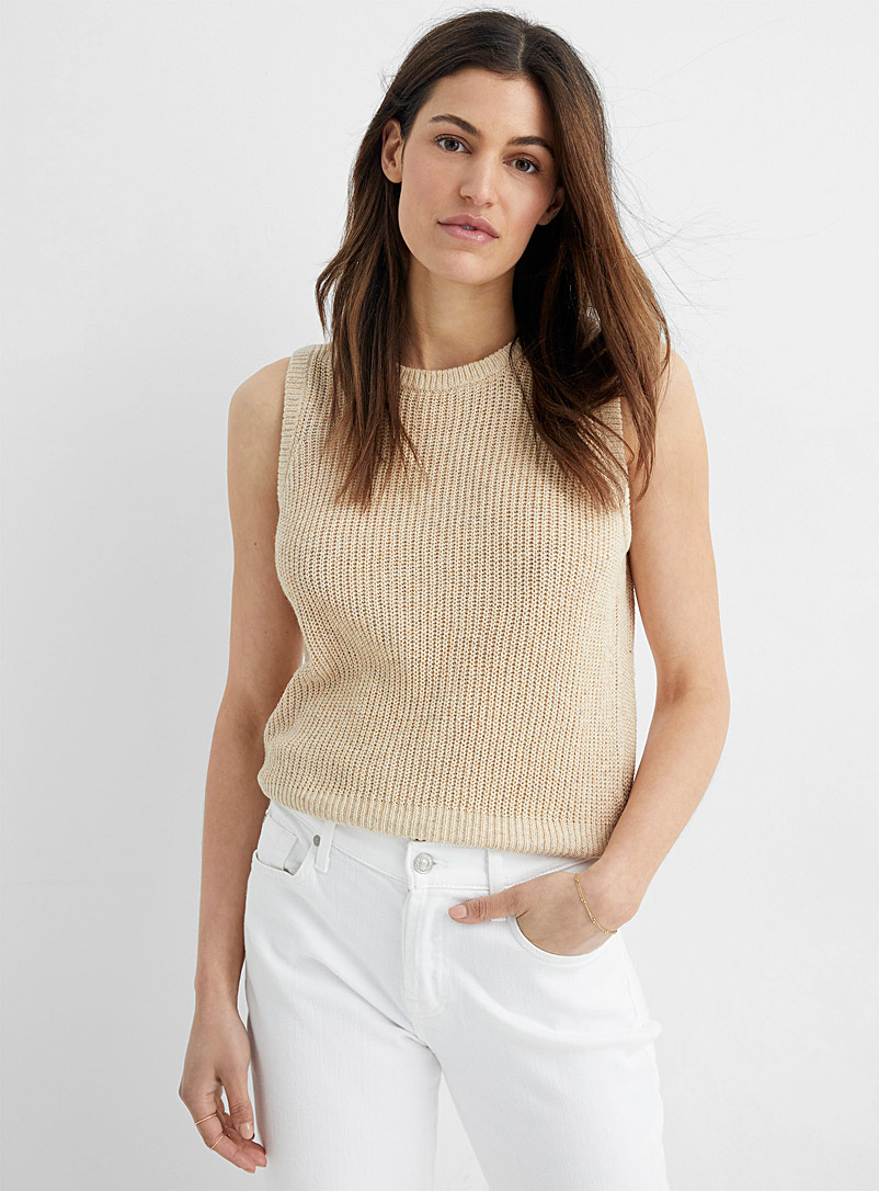 InWear Sand Disa sand-coloured ribbed tank for women