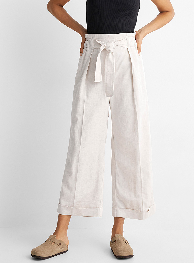 InWear White Pleated-waist cropped pant for women