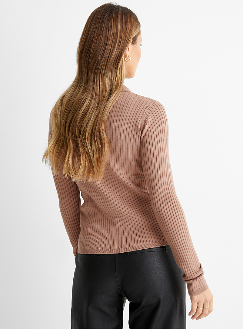 InWear Black Johnny collar ribbed sweater for women