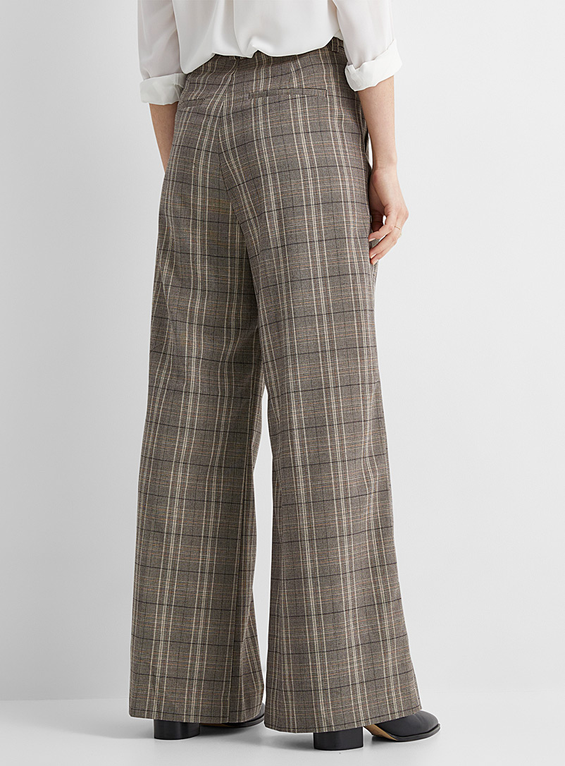InWear Patterned White Plaid wide-leg pleated pant for women