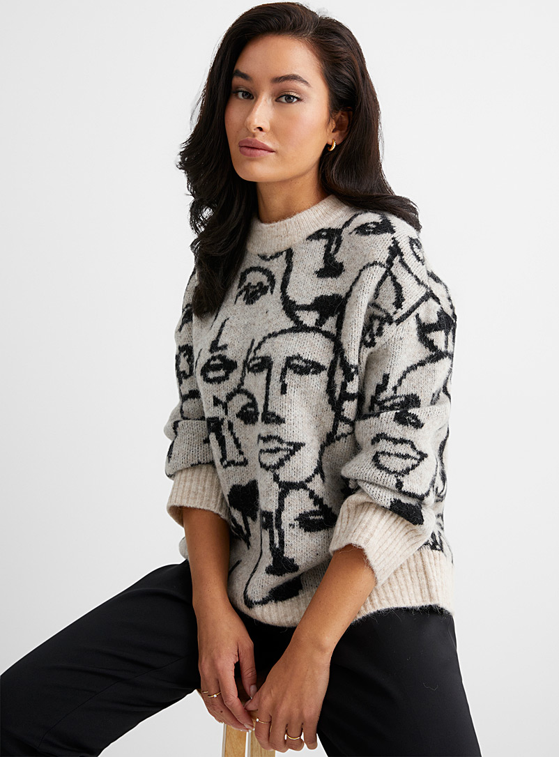 InWear Ivory White Faces jacquard alpaca sweater for women