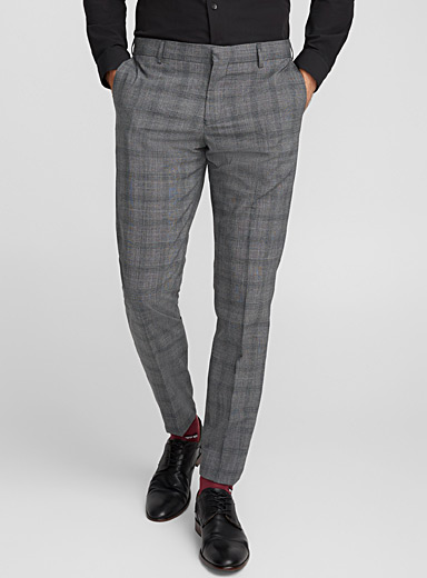 Las ash-grey check pant <br>Slim fit