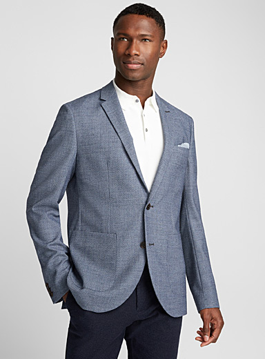 Chambray piqué jacket  Semi-slim fit
