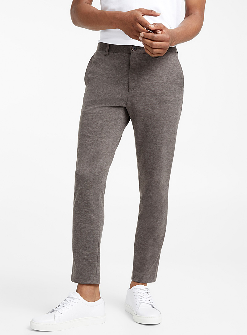 Chambray piqué pant  Straight fit - Straight fit - Brown