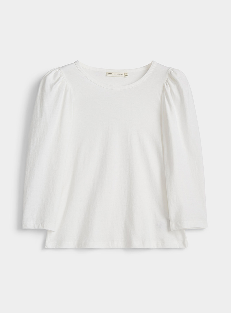 InWear White Puff-shoulder tee for women