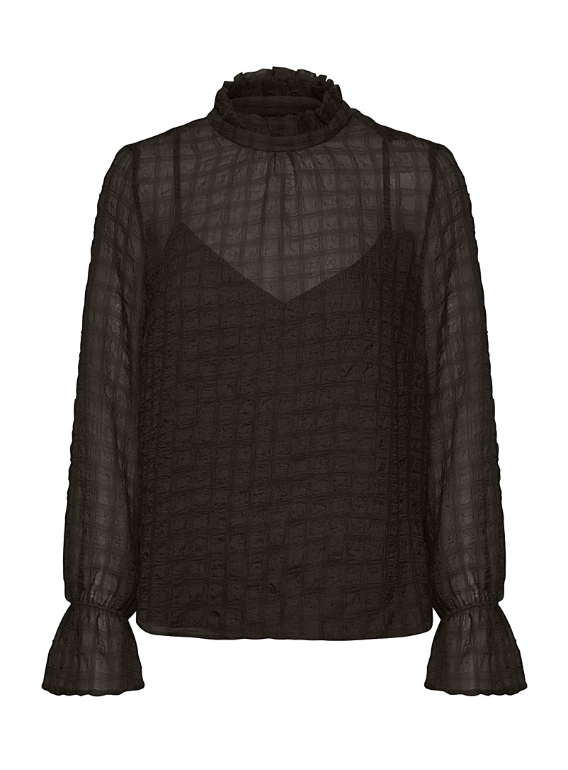 InWear Black Pakwal textured check blouse for women