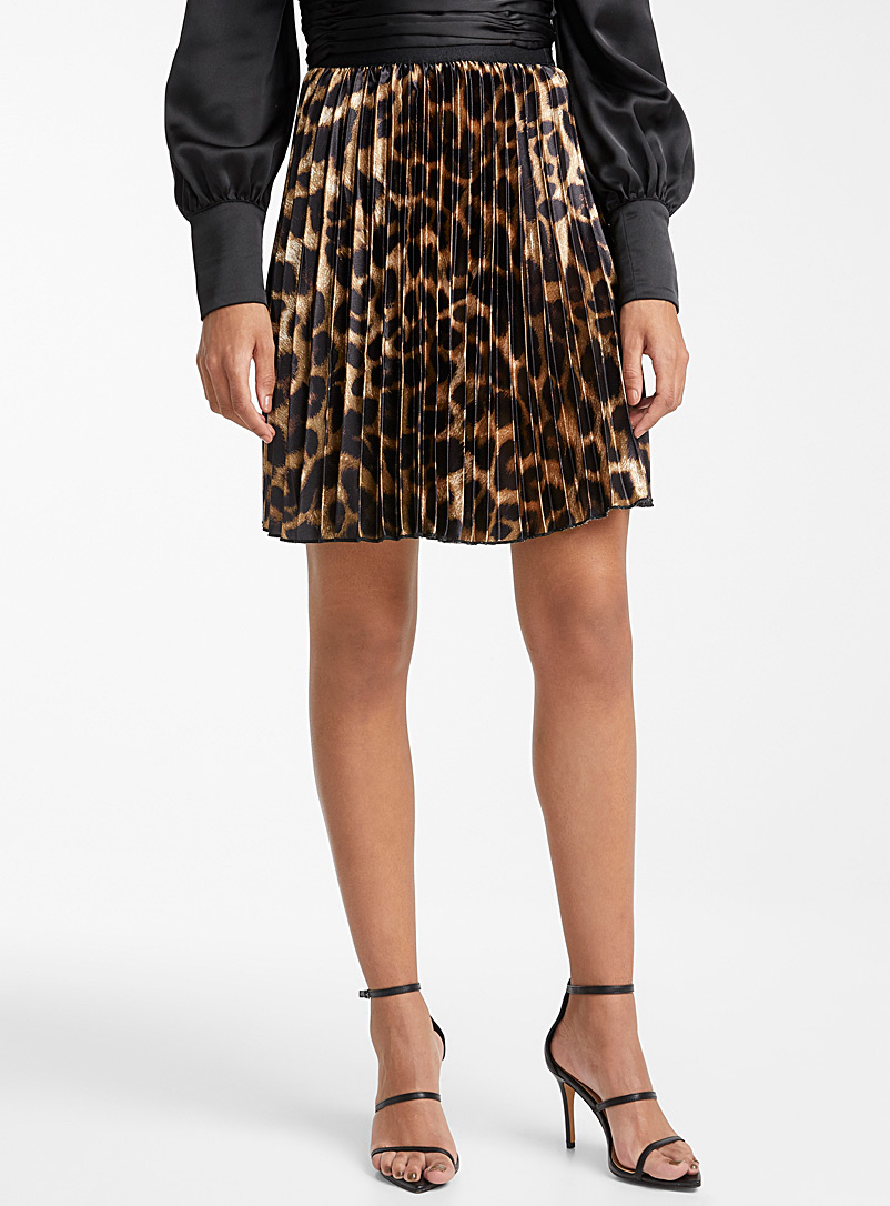 Leopard pleated satin skirt - Short - Patterned Brown