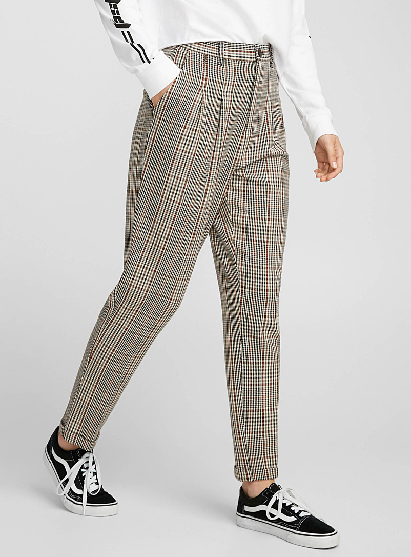 Plaid pleated pant - Semi-Slim - Patterned Red