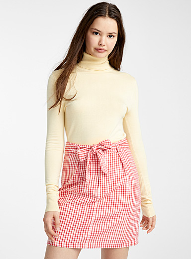 British check tie-belt skirt