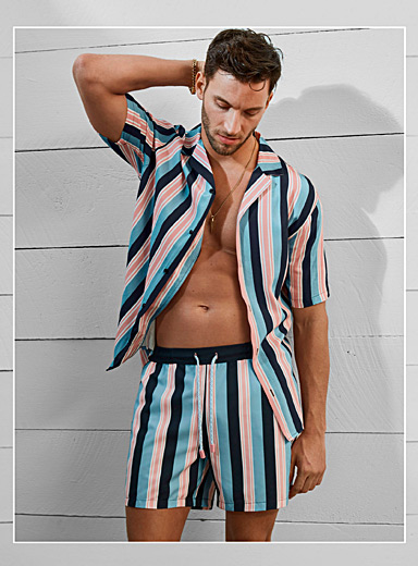 Mediterranean stripe recycled swim trunk