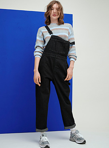 Loose organic denim overalls