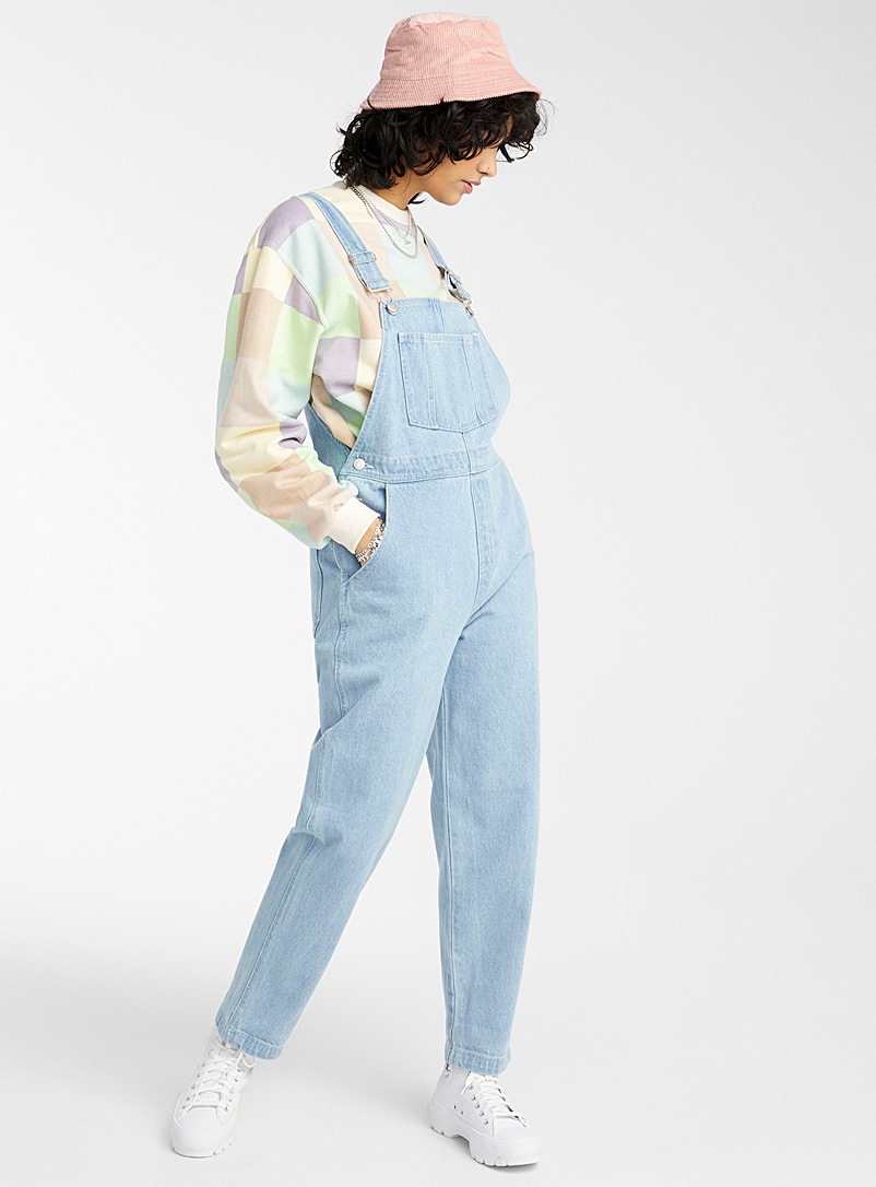 Twik Teal Loose organic denim overalls for women