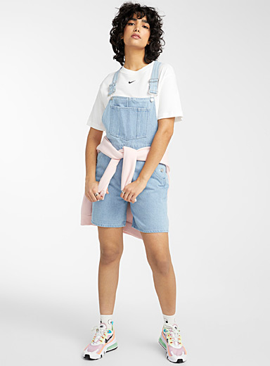Twik Teal Loose eco-friendly denim overalls for women