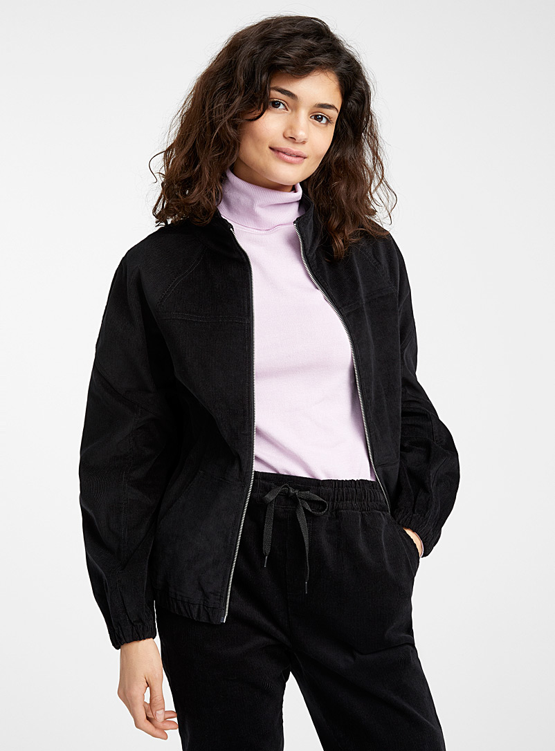 Twik Black Organic cotton corduroy jacket for women