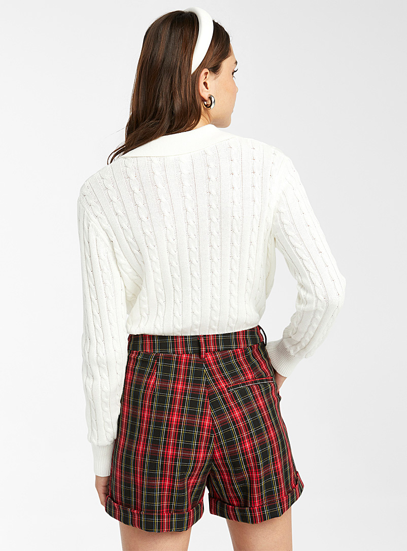 Twik Patterned Red Check grandpa short for women