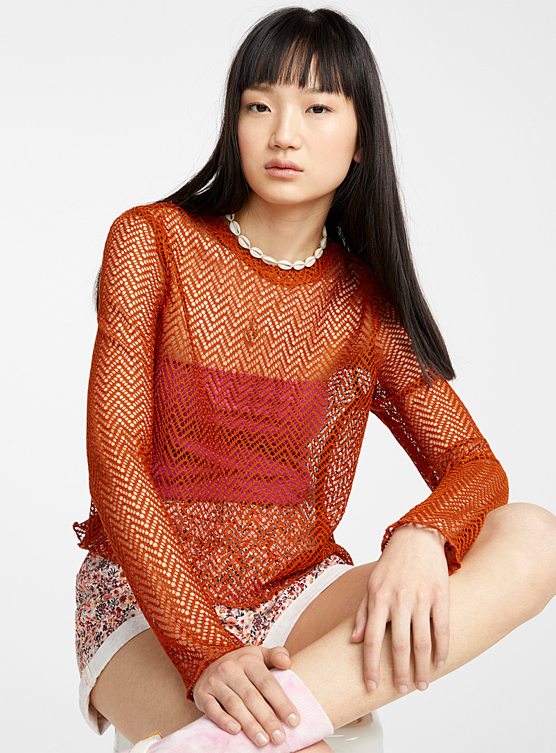 Twik Dark Orange Geo openwork mesh blouse for women