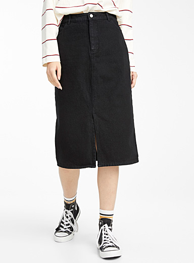 Organic cotton denim midi skirt