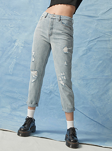 Twik Slate Blue Organic cotton distressed boyfriend jean for women