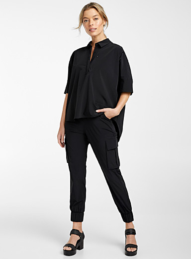 Recycled polyester asymmetric loose blouse