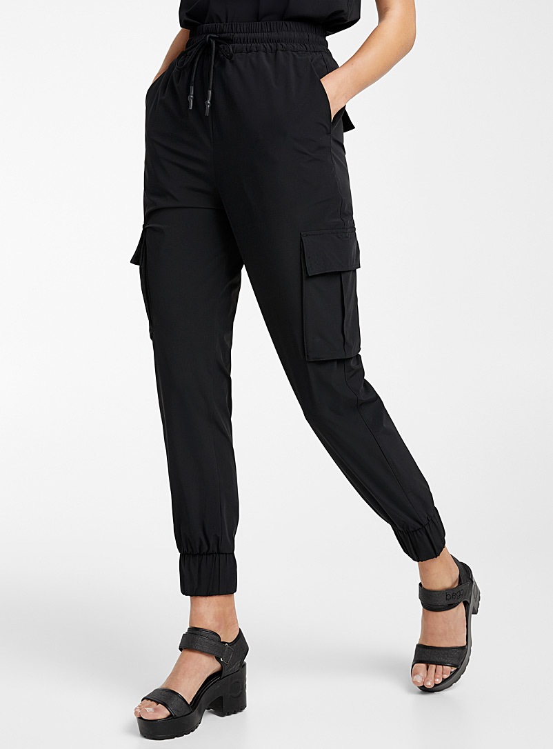 Icône Black Recycled nylon cargo joggers for women