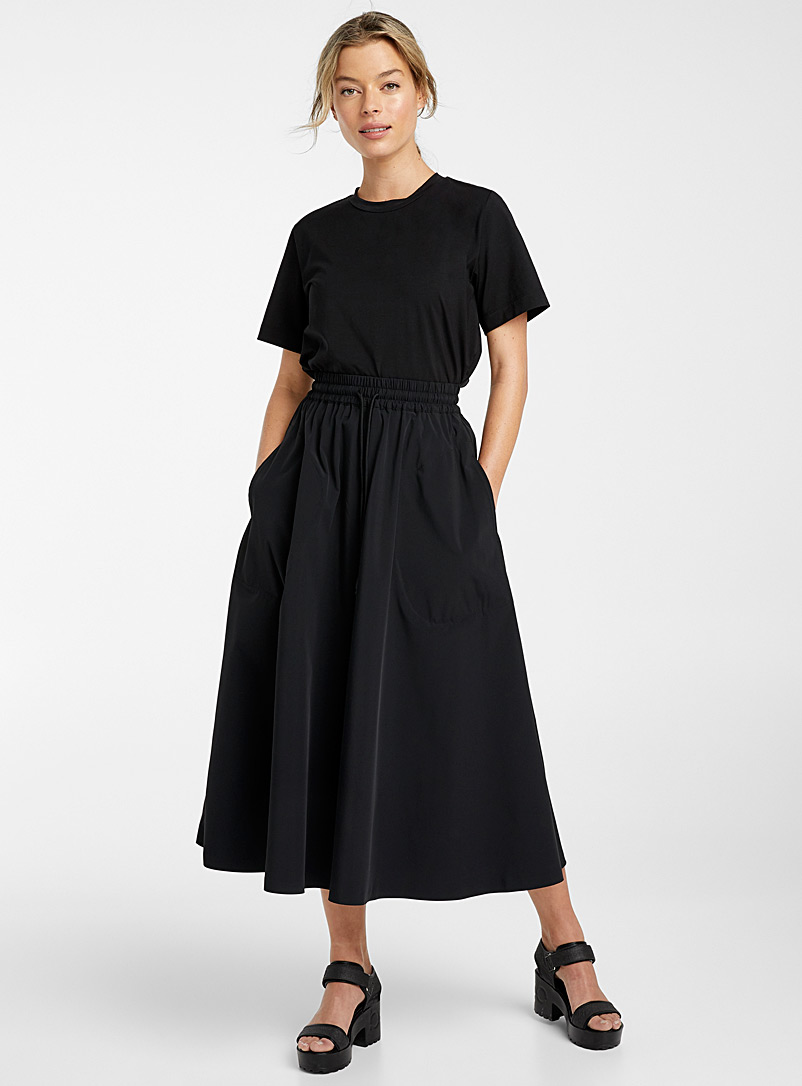 Ic?ne Black Recycled nylon midi skirt for women