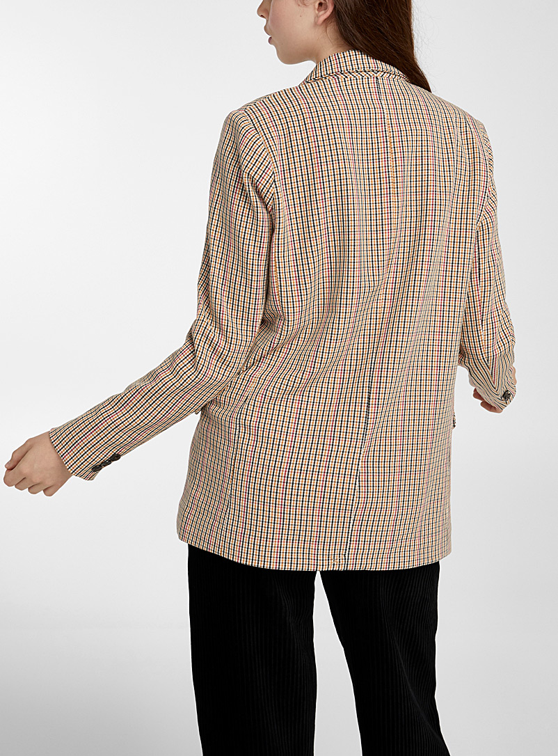Twik Patterned White Check double-breasted blazer for women