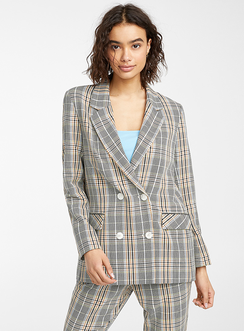 Twik Patterned Brown Check boyfriend jacket for women