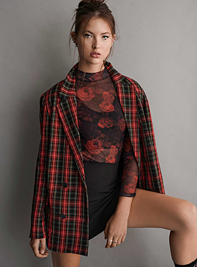 Twik Patterned Red Check double-breasted blazer for women