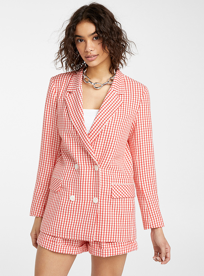 Twik Patterned Black Check boyfriend jacket for women
