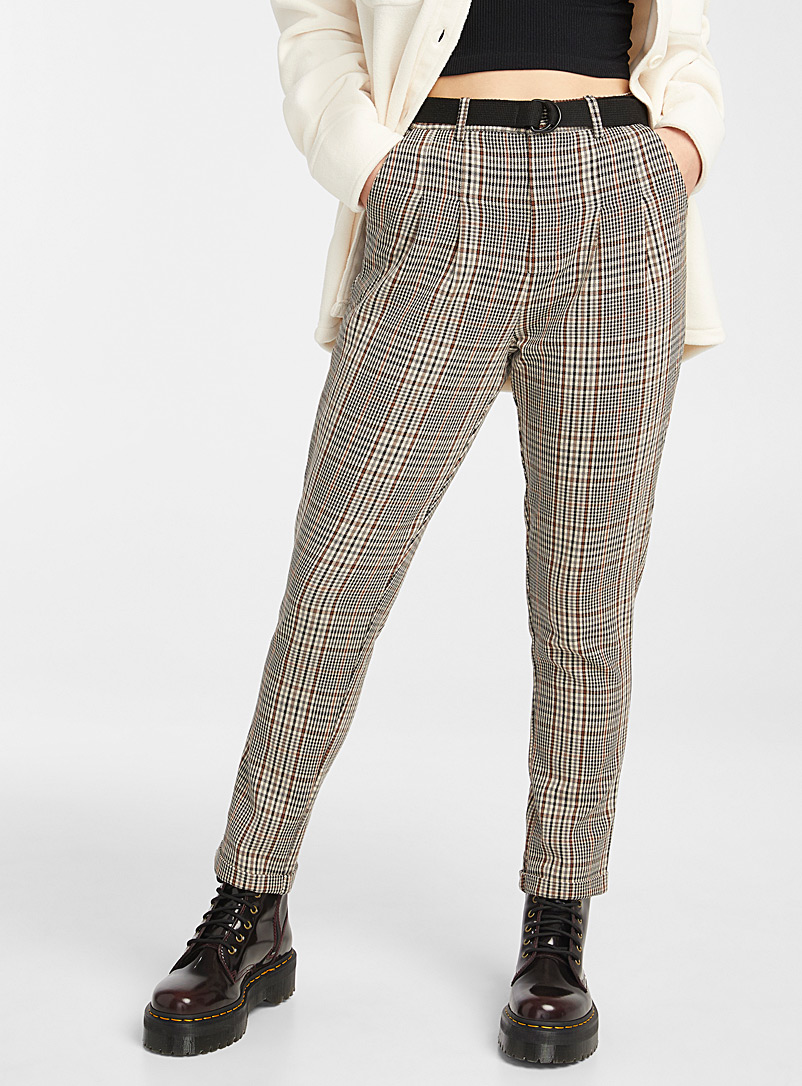Twik Fawn Check grandpa pant for women